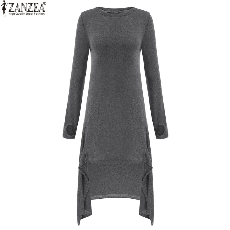ZANZEA Women Sweater Dress 2018 Autumn Long Sleeve Asymmetric Hem Casual Loose Knitted Midi Vestidos Women Clothes Plus Size 4