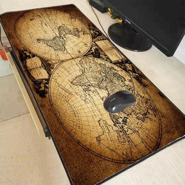 Mairuige Oude Wereldkaart Grote Gaming Lock Edge Muis Mat Toetsenbord Pad Bureau Mat Tafel Mat Gamer Mouse Pad Voor laptop Notebook Lol