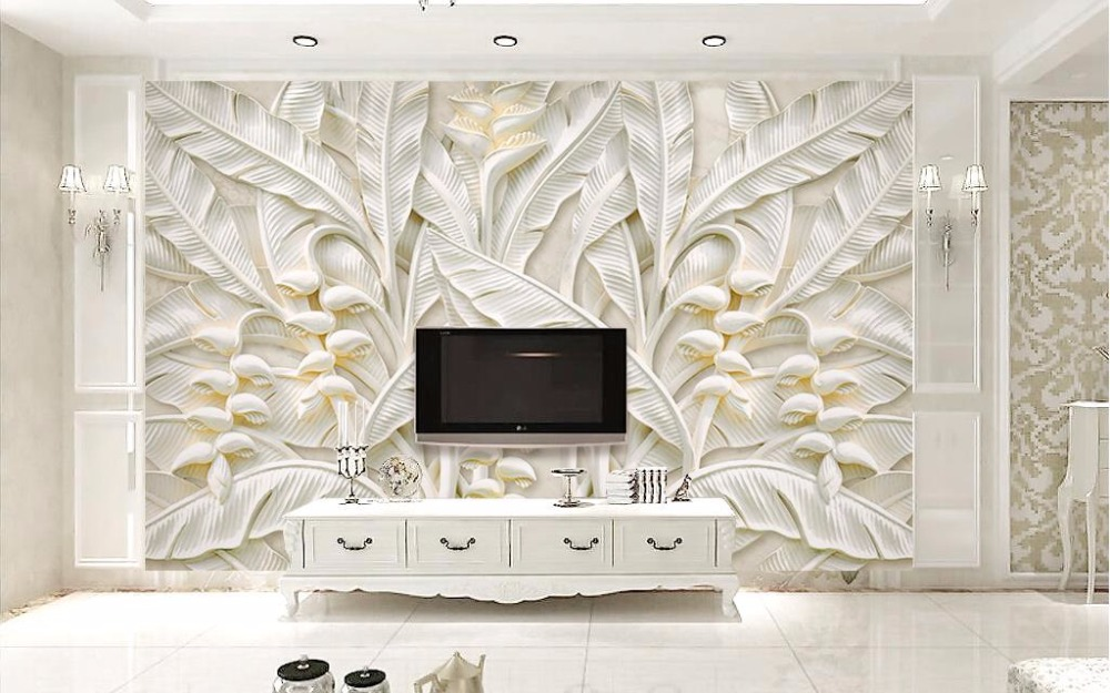Custom 3d photo wall mural european embossed leaves for Custom mural wall covering