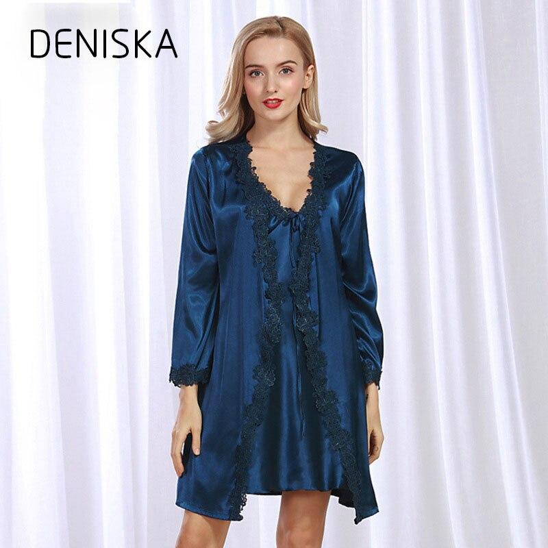 DENISKA Sexy 2018 New Arrival Brand Lace Silk Robe & Gown Set Free Shipping Two Piece Suspender Sleepwear + Bathing Robe Hot