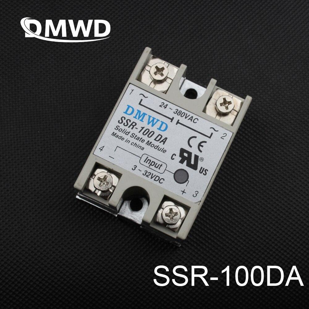 DMWD solid state relay SSR-100DA 100A SSR 100DA 3-32V DC TO 24-380V AC relay solid state dc-ac brand new dc to ac ssr 100da solid state relay module 100a 3 32vdc 24 380vac dc ac solid state relay