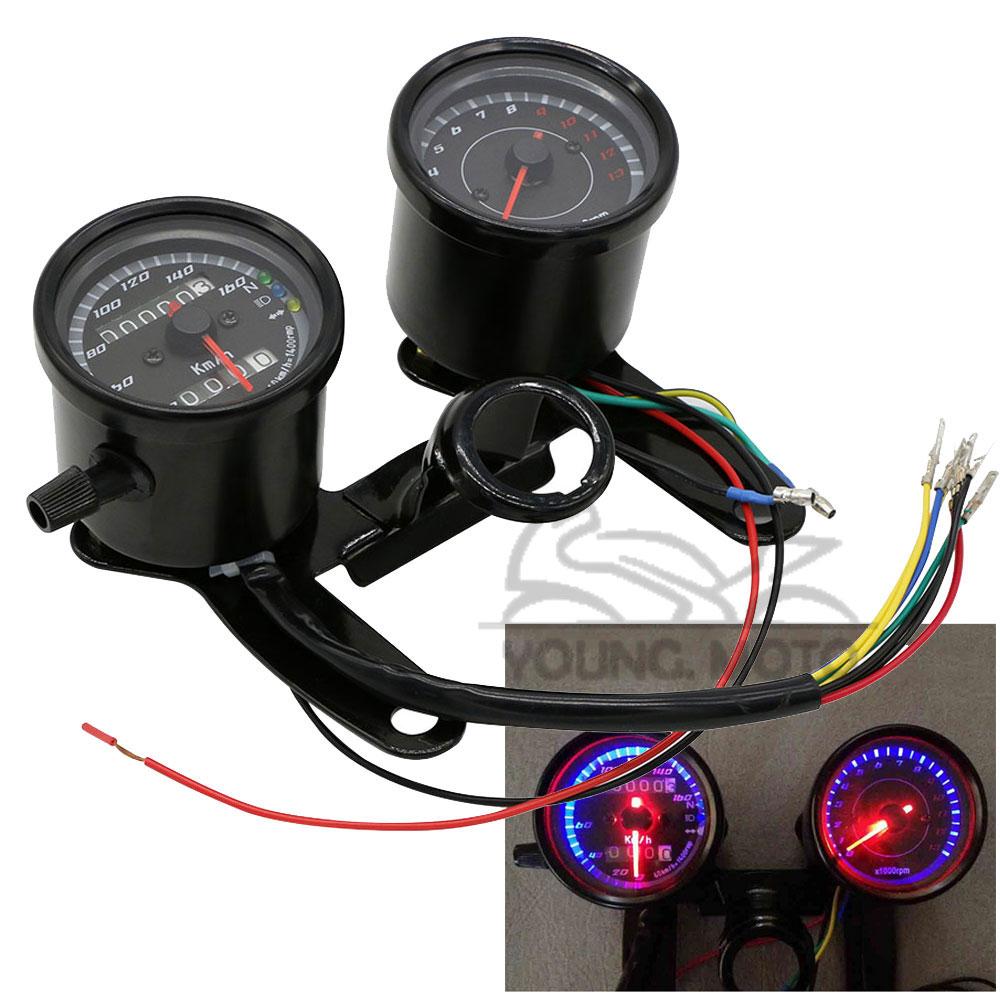 Universal Motorcycle Speedometer Odometer Gauge 0~160km/h 13000RPM LED  Backlight Tachometer Set for Honda Kawasaki Yamaha Suzuki-in Instruments  from ...