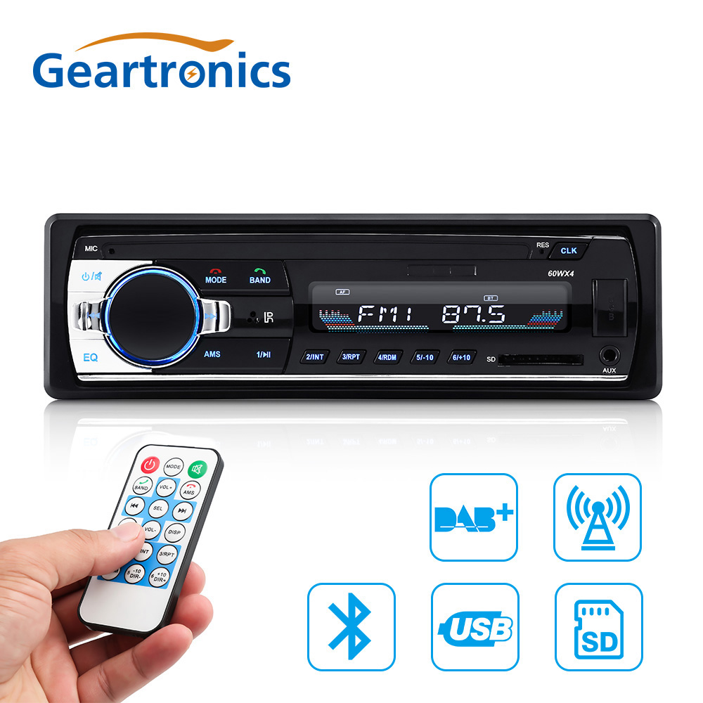 1 DIN Bluetooth DAB Car Radio Bluetooth MP3 USB Car Stereo FM USB AUX Audio Auto Electronics Car Audio Player Autoradio 12V 1 din car radio mp3 audio player bluetooth hands free fm stereo supports car holder usb2 0 sd aux audio playback usb charger 12v