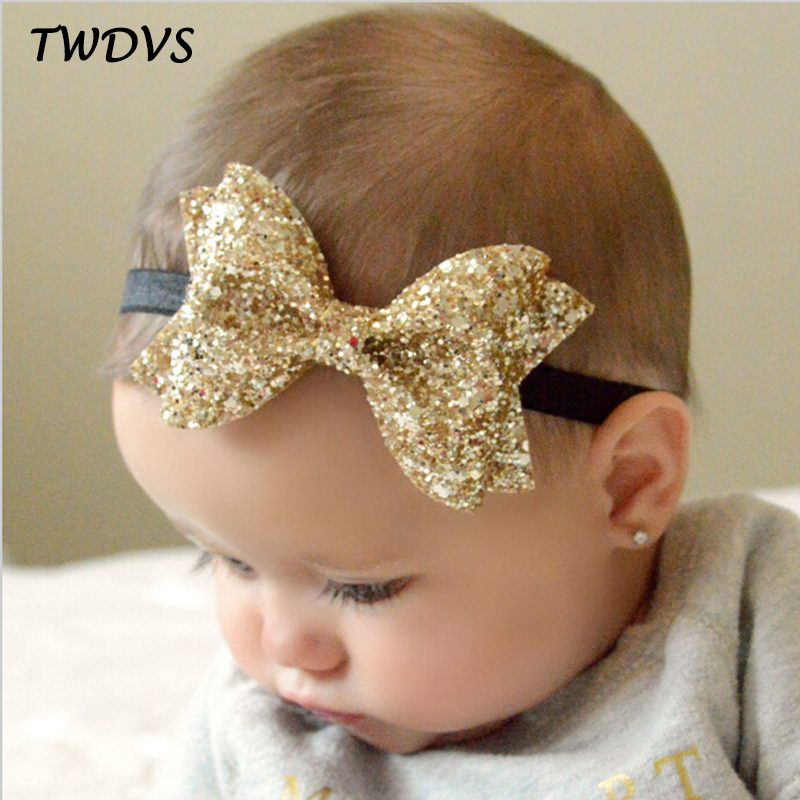 TWDVS Newborn Shiny Bow Knot Hair band Kids Girls Elastic Bow Headband Kids..