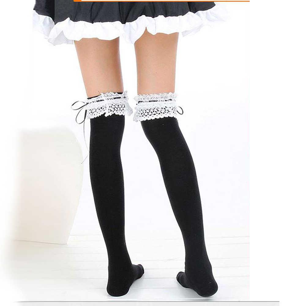 794c6e0b0 ... Niñas encaje arco Kawaii Lolita Pantyhose muslo medias altas para  mujeres botas calcetines de algodón ...