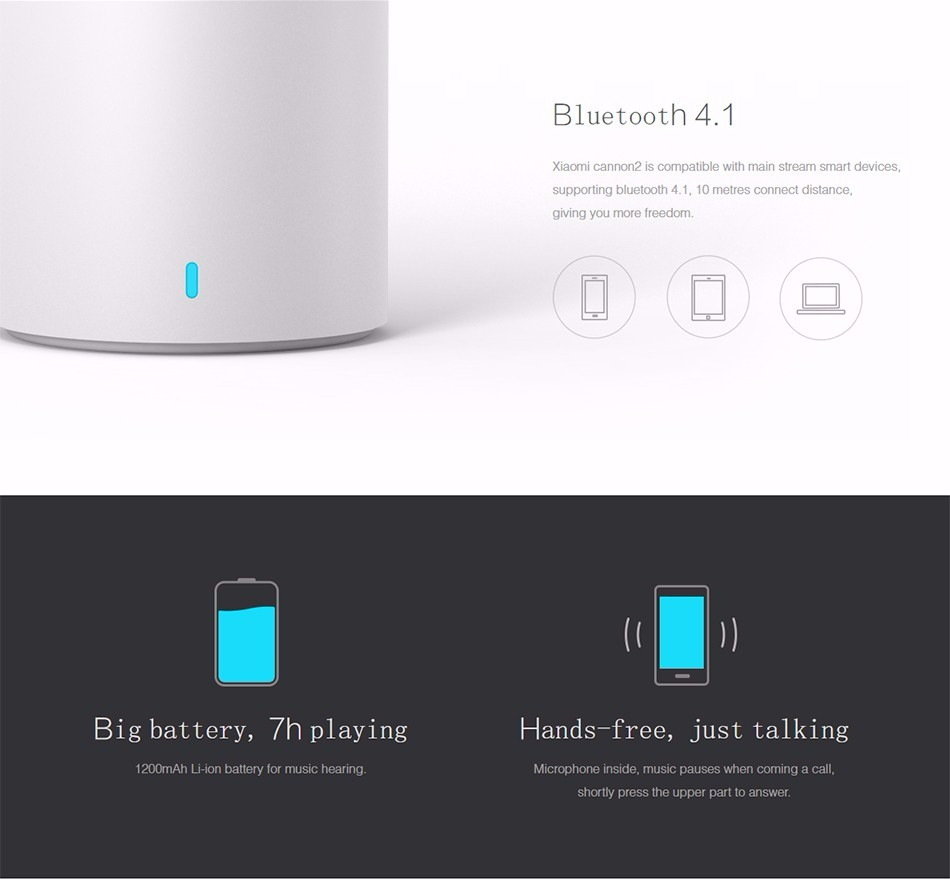 Original Xiaomi Bluetooth Speaker Cannon 2 Smart Portable Wireless Subwoofer Wifi Loudspeaker for IphoneAndroid Phone PC (14)