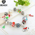 BISAER 2015 Chain Link Bracelet For Women With Exquisite Murano Glass Beads Christmas Charm Gift DIY Gift Pulseras