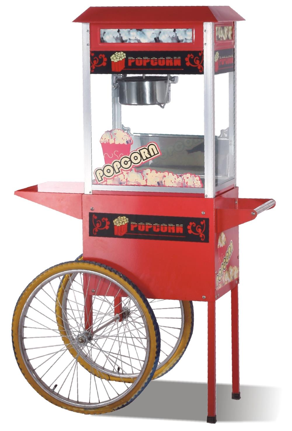 Hot air commercial electric popcorn machine with cart High Quality Popcorn Machine 10oz stainless steel 110v 220v electric commercial popcorn machine with temperature control