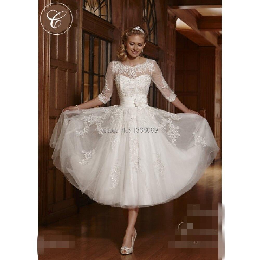 20 Beach Lace Wedding Dress Scoop 20 Quarter Sleeve Knee Length ...