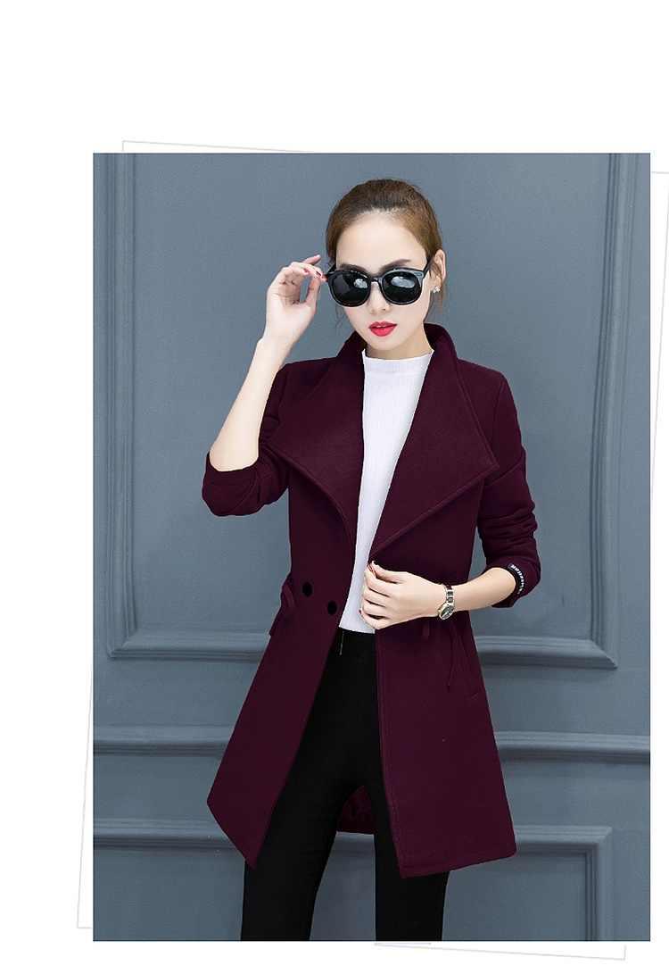 Winter women's jacket New Woolen coat Plus size Long sleeve Slim Tops Korea elegant Women Fashion Imitation Cashmere coat