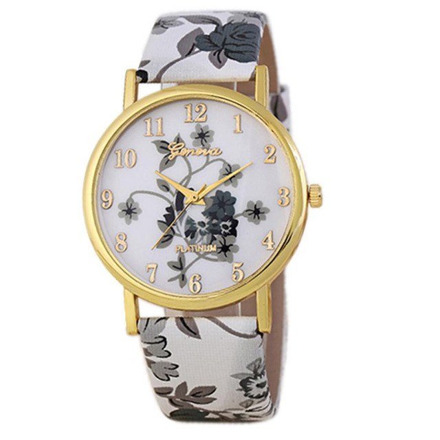 New Fashion Leather Women Watches 2017 Luxury Top Brand Floral Pattern Casual Qu