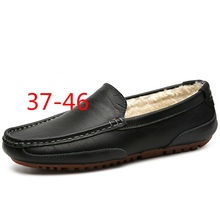 AMSHCA Men Leather Driving Shoes Male Winter Shoes with Fur Waterproof Moccasin Loafers for Man Plus 45 46 Casual Shoes