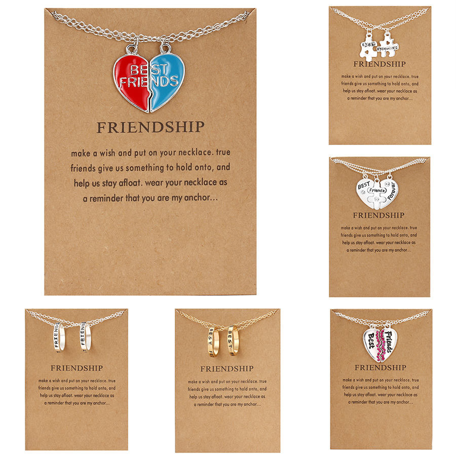 Broken Heart Pendant Necklace 2pcs Best Friends Letters Couple Necklaces for Women Girls Friendship Forever Jewelry with Card