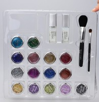 15 Colors Temporary Glitter Tattoo Kit With Brushes Glue Stencil