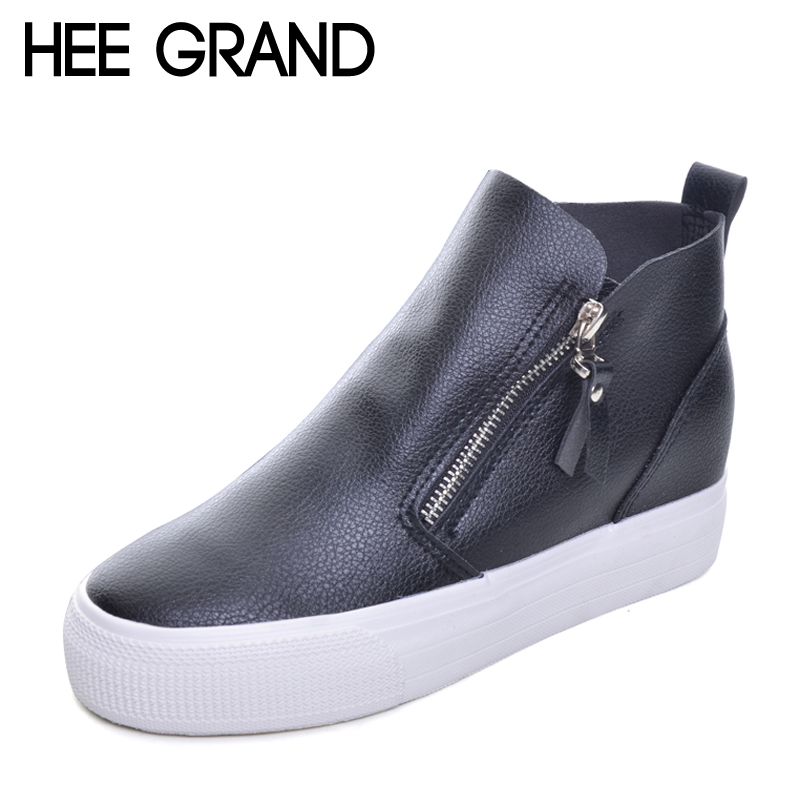 HEE GRAND Platform Women Boots 2017 Creepers British Style Ankle Boots Casual Shoes Woman Slip On Flats Size 35-40 XWX4068 hee grand bling winter snow boots waterproof silver shoes woman platform women ankle boots slip on flats casual creepers xwx5503