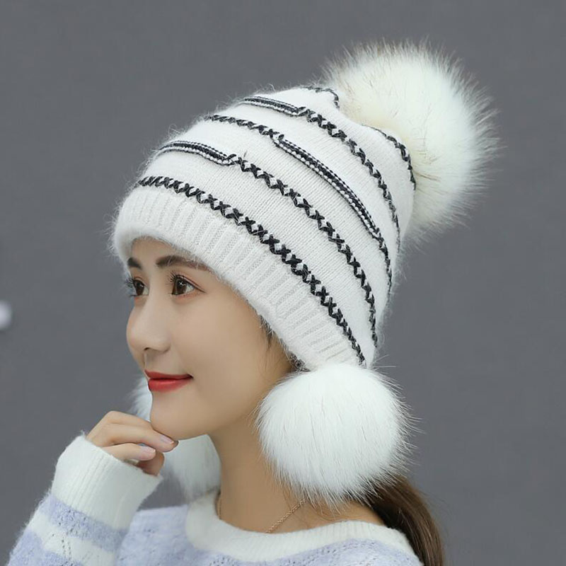 Winter Thicker Knitted Women Hat Fox & Rabbit Fur Keep Warm Fashion White Color   Beanies   Female Caps With Free Shipping