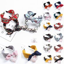20 Colors 1PC Cloth Solid Hair Band Fashion Ladies Bow Dot Wide Rabbit Ears Hoop Soft Comfortable Print Strip Flower