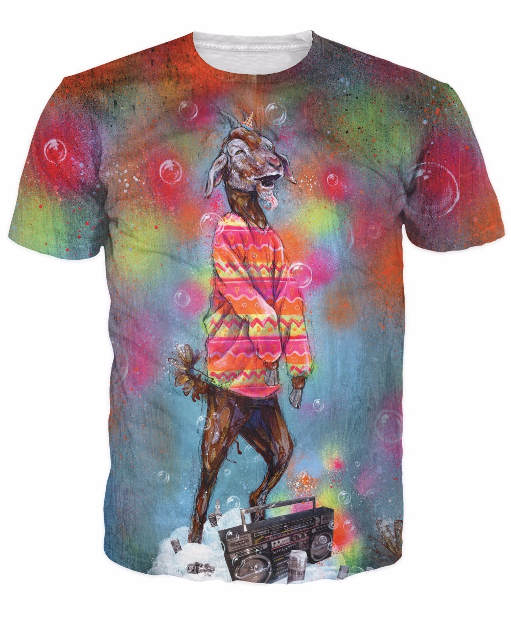 Super Trippy Party Goat T-Shirt Sick Women Men Tee Billy Goat Hipster Rockin Out Boombox Psychedelic Shirt Sexy T Shirt Tops