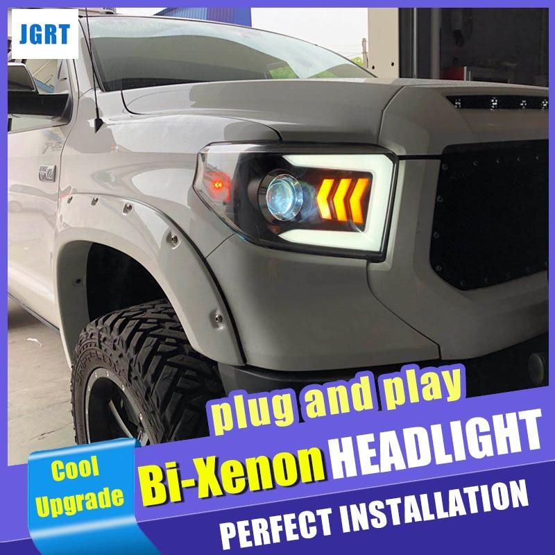 Faróis de Estilo do carro para Toyota Tundra 2014-2018 Dinâmico Turn Signal LED Head lamp DRL Hid Xenon lente Auto acessórios