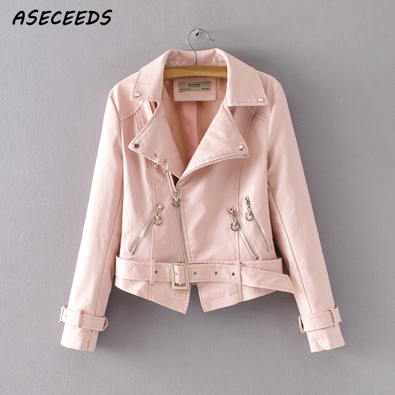 Pink Leather Jacket Women Long Sleeve Veste En Cuir Femme Casual
