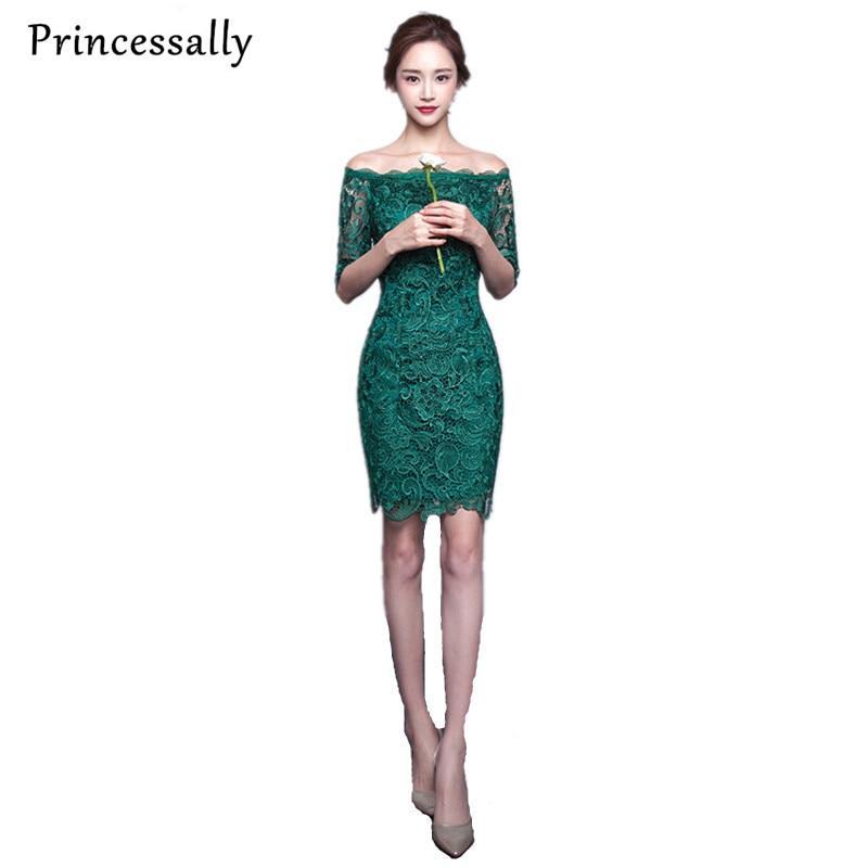 Sexy Emerald Green Evening Dresses Short Lace Boat Neck Half Sleelve Elegant Evening Gown Vestido De Festa Party Prom Gowns 2017