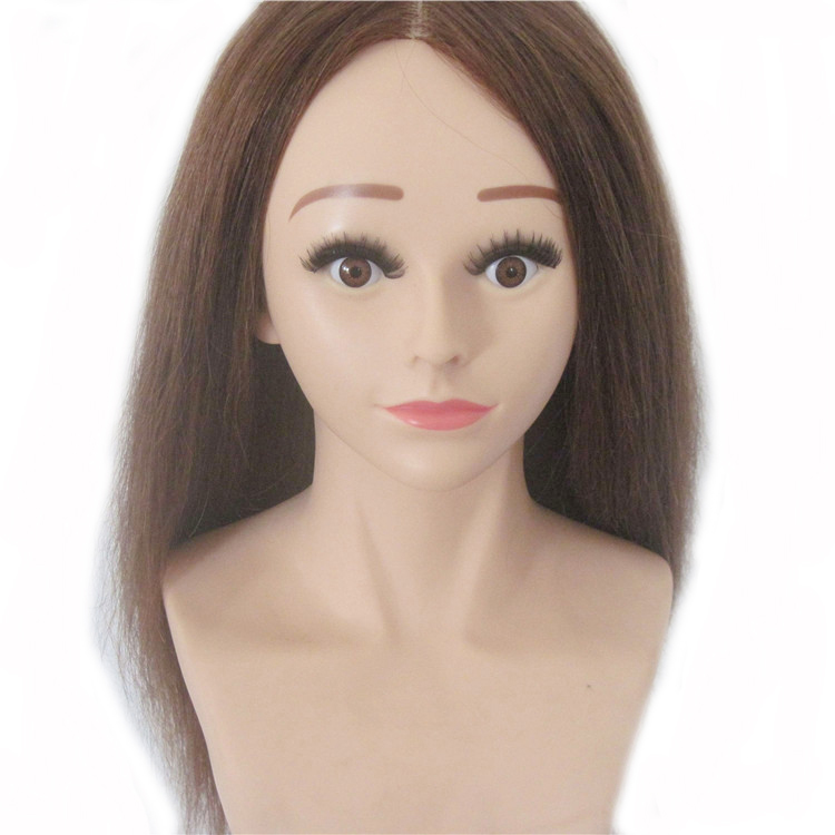 22 220g Brown 100 Human Hair Training Competition Level Practice Training Mannequin Manikin Head Hairdressing 8