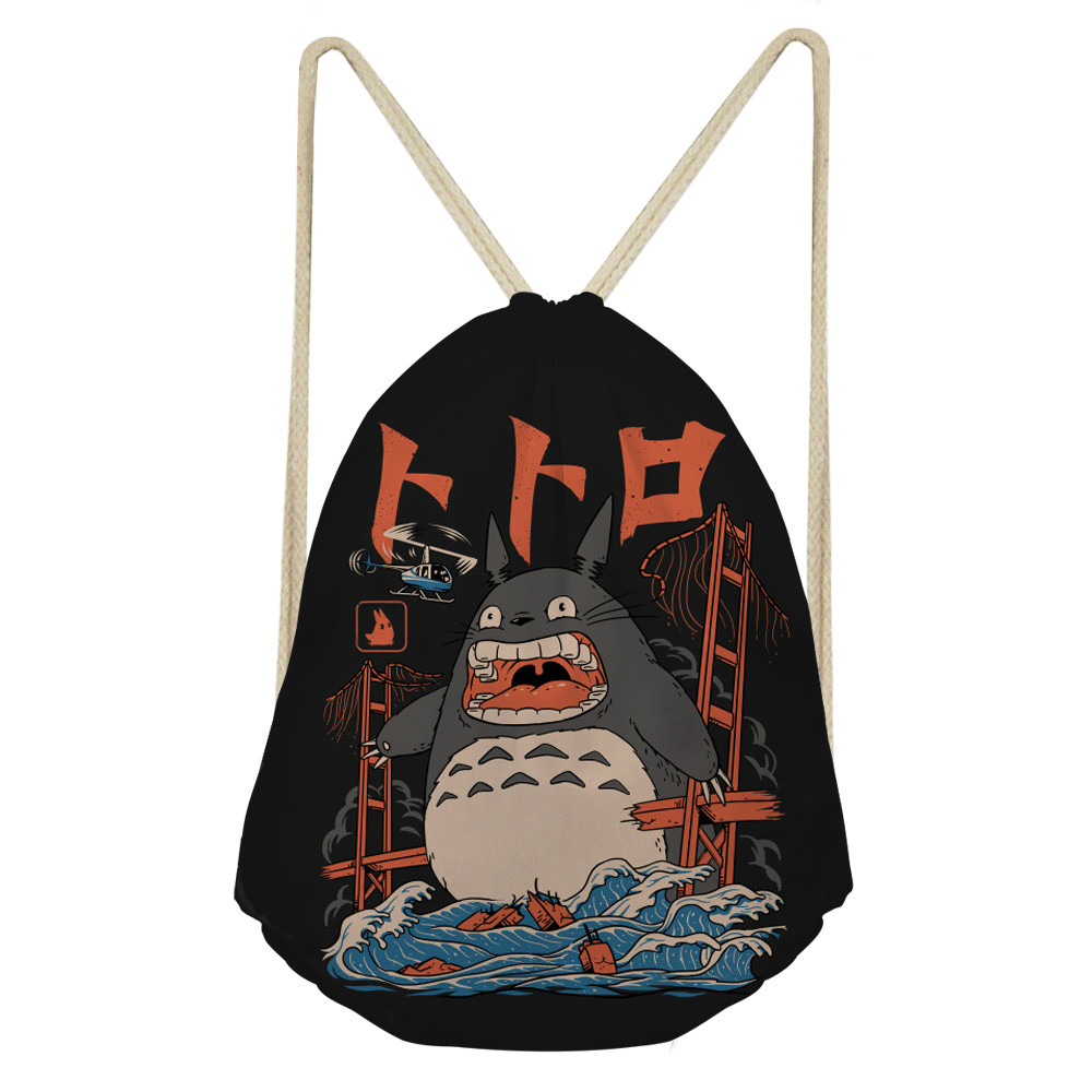ThiKin Cute Anime My Neighbor Totoro Drawstring Bag For Women Cartoon Girls Kids School Backpack Travel Cinch Sack Pack