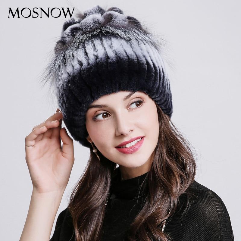 MOSNOW   Skullies     Beanies   Brand Natural Rex Rabbit Fur Winter Hats For Women Design With Fox Fur 2018 Hat Female Caps For Girls