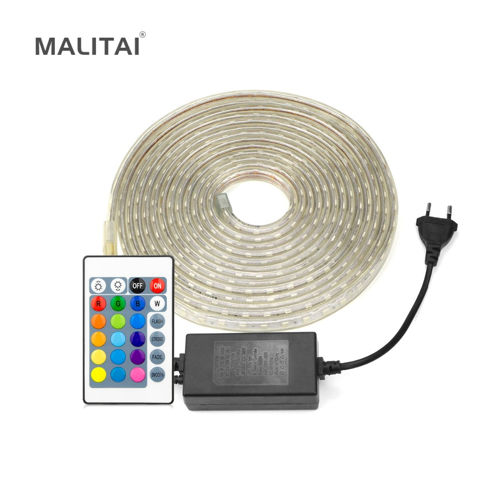 Flexible RGB LED Strip Light 220V Waterproof 5050 Outdoor
