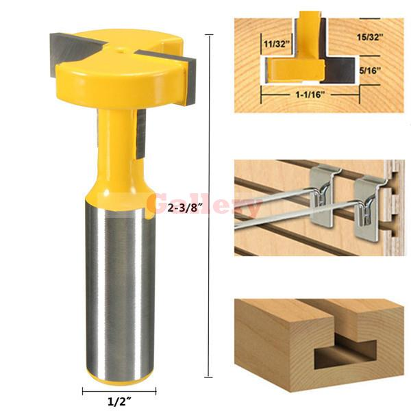 2 Pcs Lot Straight T Slot Router Bit 1/2 Inch Shank Carbide Wood Milling Cutter Woodworking Gear 1 Drill Bit Drill Bit Set 1 2 5 8 round nose bit for wood slotting milling cutters woodworking router bits