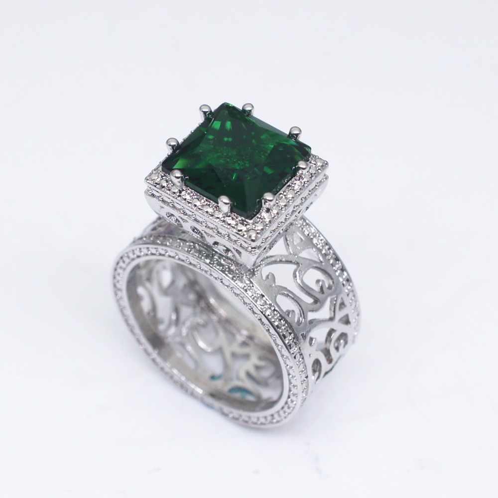 ラグジュアリービッグクリスタル · グリーンストーンリング男性女性 925 シルバー婚約指輪ヴィンテージゴールドリングメッキパーティー結婚指輪女性