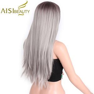 """Image 3 - AISI beauté longue droite gris rouge rose Ombre noir perruques synthétiques pour les femmes Cosplay cheveux résistant à la chaleur 26"""""""