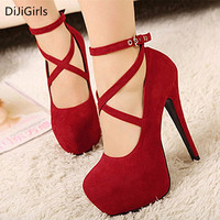 2018 Big Size 34 42 Women Cross tied Pumps Stiletto Heels 14 cm Ankle Buckle Gladiator Lady Shoes Blue Red Platform Bridal Shoes