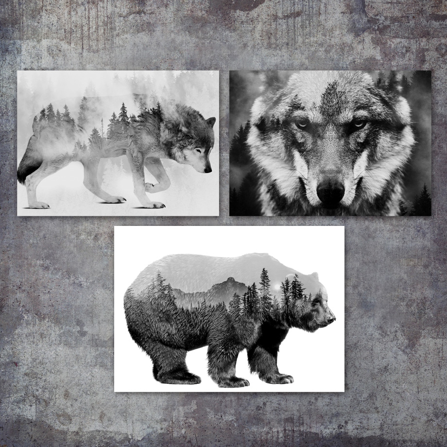 Us 3 04 38 Off Abstract Bear Wolf Landscape Wall Art Canvas Painting Nordic Posters And Prints Black White Wall Pictures For Living Room Decor In
