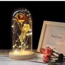 Горячая Красота и чудовище позолоченный красная роза светодиодный светильник в стеклянном куполе для свадебной вечеринки день Святого Валентина рождественский подарок