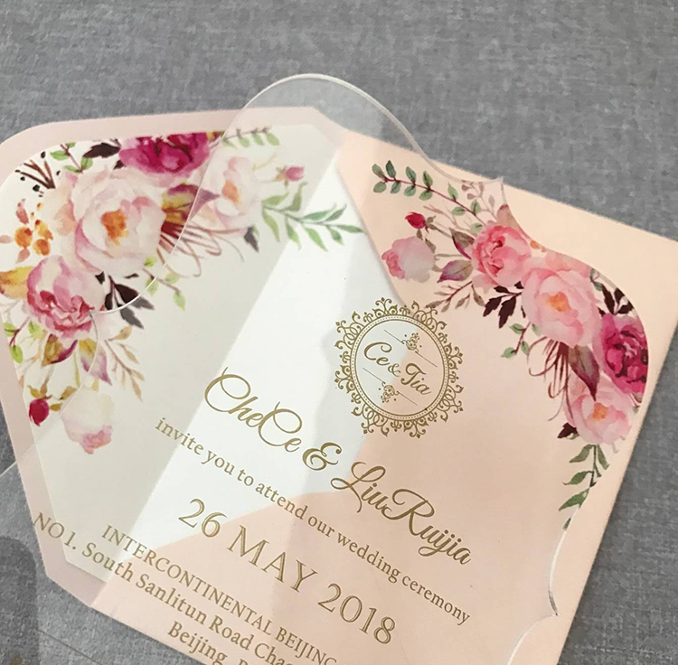 Floral acrylic wedding invitation customized fancy shape with envelope liner