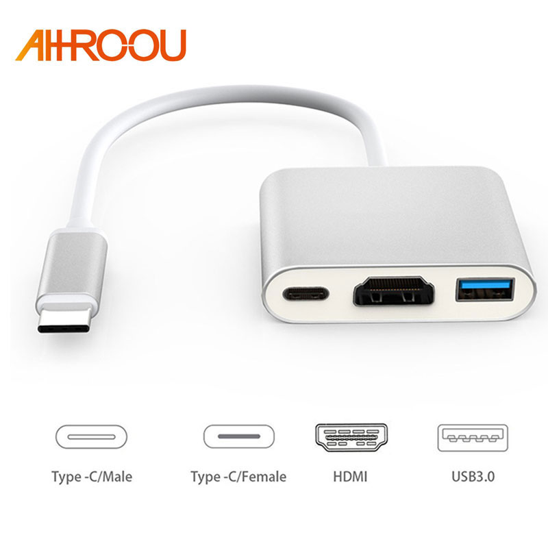 AHHROOU New USB 3.1 Type C to HDMI USB 3.0 USB-C HUB Adapter Type-C Extender HD 4K For Macbook Air 12 Converter Free Shipping