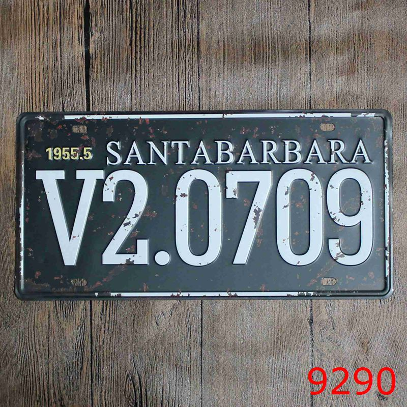 Car number  1955.5 SANTABARBARA V2.0709  License Plates plate Vintage Metal tin sign Wall art craft painting 15x30cm