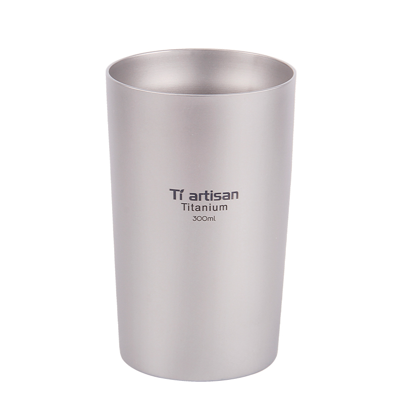 Tiartisan Outdoor titanium beer mug portable double insulated coffee tea drinking wall 300ml