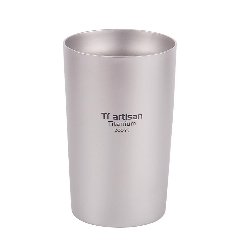 Tiartisan Outdoor titanium beer mug portable double insulated coffee tea drinking wall 300ml