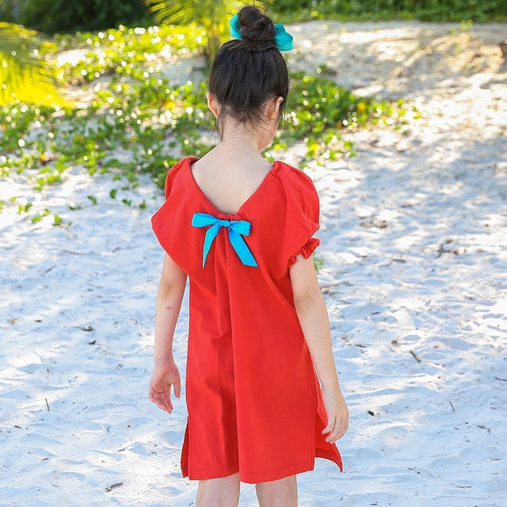 Cotton Linen T Shirts Baby Girl Dress Summer 2018 Beach Holiday Big Girls Dress Lantern Sleeve Red Blue Kids Tops 2pcs children outfit clothes kids baby girl off shoulder cotton ruffled sleeve tops striped t shirt blue denim jeans sunsuit set