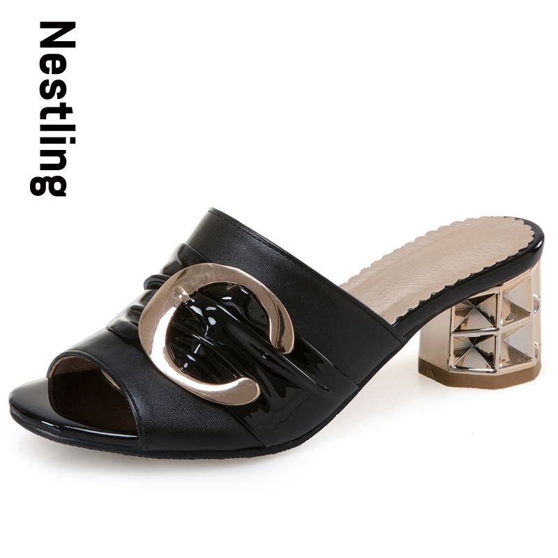 Nestling New 2017 Fashion Women Sandals Summer High Heels Shoes Woman Sexy Peep Toe Women Slides Metal Buckle Party Dress Shoes zbaiyh 2017 summer fashion high waist jeans women ripped jean retro boyfriend femme vaqueros mujer plus size jeans denim pants