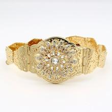 Сверкающий Круглый Кристалл полые цветок металлик талии декоративная цепь ремень Регулируемый Длина Jewelry Индии Свадебные Bijoux