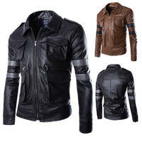 New Games Resident Evil 4 Costumes Men's Leon S Kennedy PU leather jacket Cosplay Casual Men wear leather trim coats with lapels