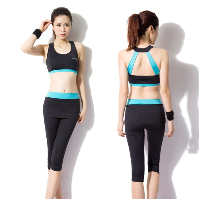 1bd67ddc799 New womens yoga suit for fitness workout uniform exercise skintight  sleeveless tops and middle pants free