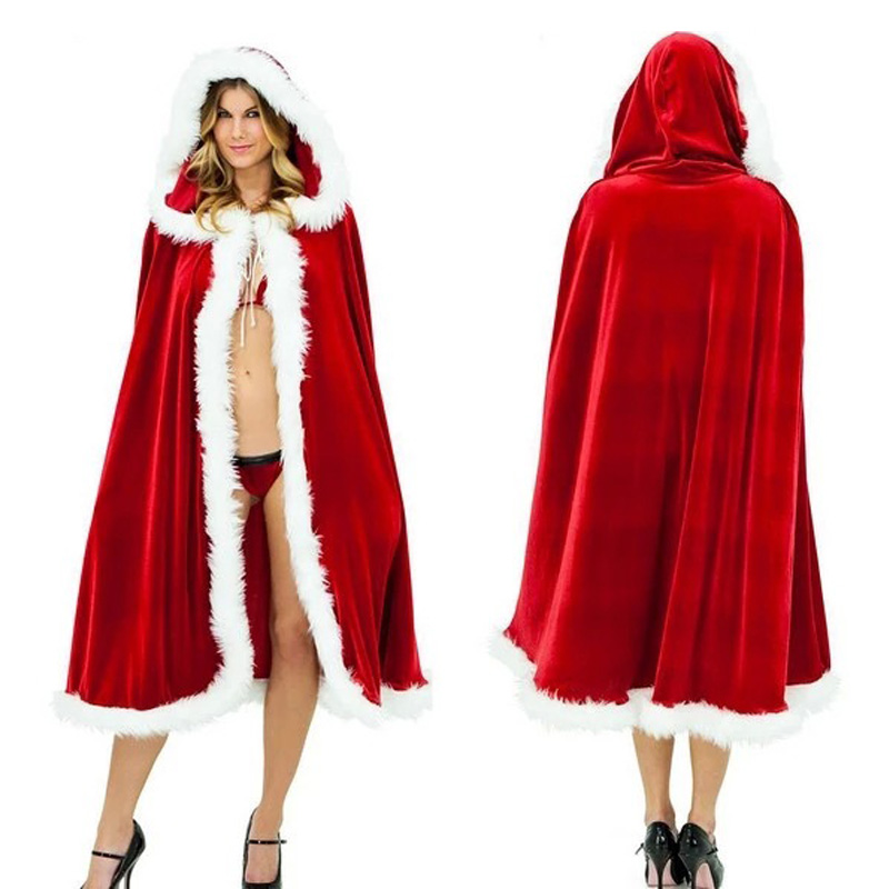 Women Red Hooded Cape Christmas Costume For Adult Hooded Christmas Cloak 150CM Santa Claus Long Red Cloak Cape