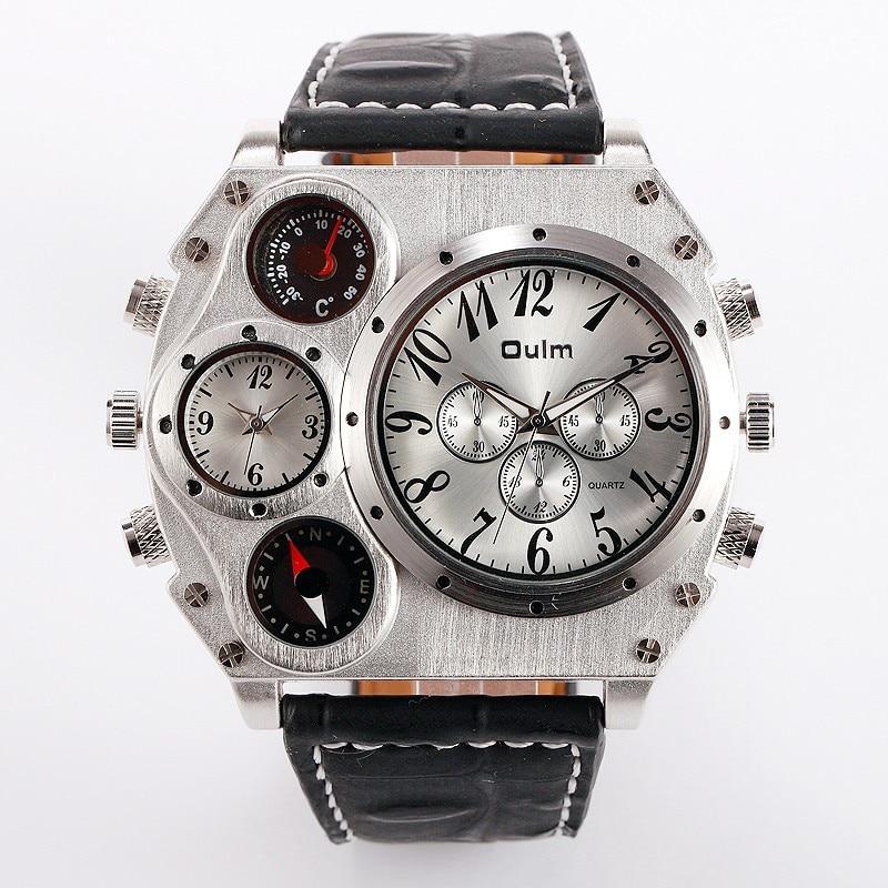 Image 2 - Oulm 1349 Reloj Hombre mężczyźni podwójny ruch sportowy zegarek wojskowy z kompas termometr dekoracji mężczyzna zegar Relogio Masculino w Zegarki cyfrowe od Zegarki na