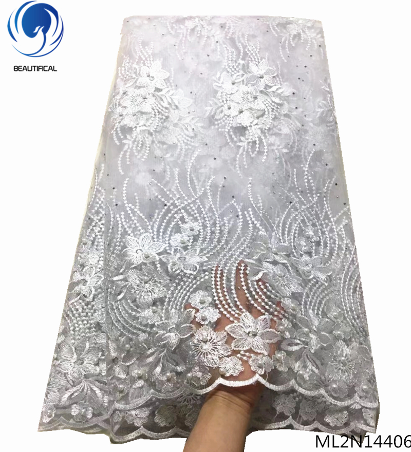 BEAUTIFICAL white african lace fabrics blue tulle wedding fabric 2019 embroidered laces 5yards ML2N144