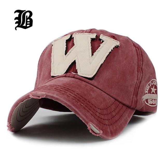 [FLB] Algodão Bordado Letra W Boné de Beisebol Tampas Snapback Osso casquette Chapéu Afligido Vestindo Chapéu Equipada Para Homens chapéus personalizados