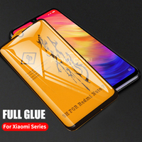 Película protectora de pantalla para Xiaomi Pocophone F1 Mi 9 9T 8 A2 Lite Mix 3 Redmi Note 7 6 5 K20 Pro, cubierta de pegamento completo 6D, vidrio templado